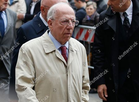 Fedele Confalonieri attends the funeral of former Italy coach Cesare Maldini funeral, in Milan's Sant'Ambrogio's Basilica, Italy, . Maldini, who was also an AC Milan player and coach, died over the weekend at the age of 84