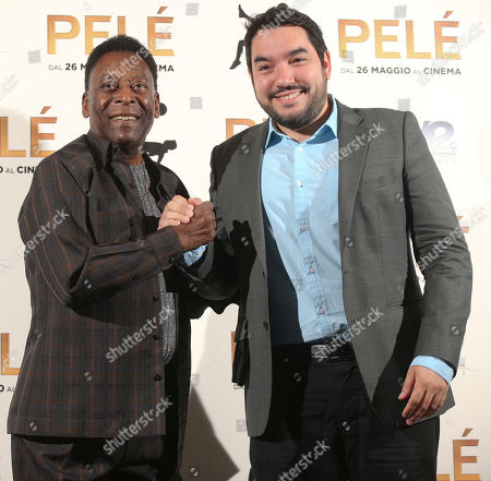 Stock Image of Pele, Ivan Orlic Brazilian soccer legend Edson Arantes Do Nascimiento better known as 'Pele', left, poses with filmmaker Ivan Orlic during a photo call for the movie 'Pele', in Milan, Italy