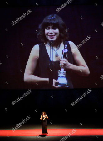 "Sofia Espinosa Mexican actriz Sofia Espinosa accepts her Ariel award as best actress for her role in the film ""Gloria"" during the 58th Mexican Ariel Academy Film Awards in Mexico City"