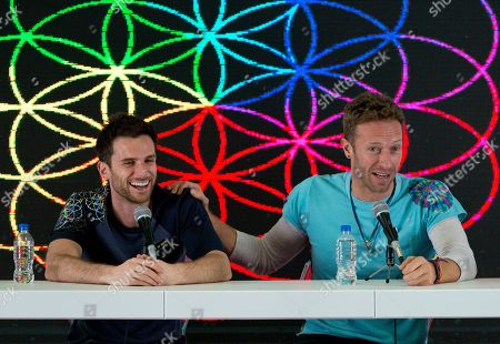 Guy Berryman, Chris Martin Guy Berryman, left, and Chris Martin of British band Coldplay participate in a press conference at Foro Sol in Mexico City, . Coldplay will be performing three shows in Mexico City from April 15 to 17 as part of their A Head Full of Dreams tour