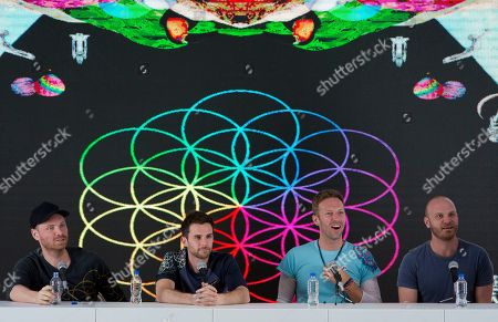 Jonny Buckland, Guy Berryman, Chris Martin, Will Champion Members of British band Coldplay, from left, Jonny Buckland, Guy Berryman, Chris Martin, and Will Champion, participate in a press conference at Foro Sol in Mexico City, . Coldplay will be performing three shows in Mexico City from April 15 to 17 as part of their A Head Full of Dreams tour