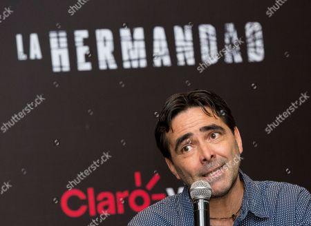 "Stock Photo of Carlos Bolado Mexican director Carlos Bolado speaks during a press conference to promote his upcoming television series ""La Hermandad,"" in Mexico City, . The creators of ""La Hermandad,"" which will be distributed on digital platform Claro Video, are hoping to popularise the thriller genre in Latin America"