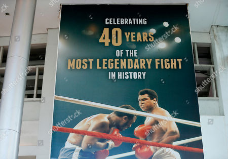 "A huge billboard heralding the ""Thrilla In Manila"" heavyweight boxing bout between Muhammad Ali and Joe Frazier dominates the entrance at the exact venue 40 years ago at the Araneta Coliseum now renamed as Smart Araneta Coliseum, in Quezon city, northeast of Manila, Philippines. From Manny Pacquiao to left-wing activists, Filipinos in this boxing-crazy nation on Saturday grieved the death of Muhammad Ali, which brought back fond memories of the epic fight"