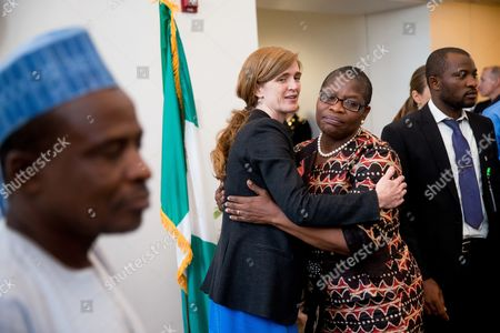 Samantha Power, Obiageli Ezekwesili U.S. Ambassador to the United Nations Samantha Power, left, hugs Bring Back Our Girls co-founder Obiageli Ezekwesili, right, at the U.S. Embassy in Nigeria after a meeting with leaders of civil society in Abuja, Nigeria, . Power is traveling to Cameroon, Chad, and Nigeria to highlight the growing threat Boko Haram poses to the Lake Chad Basin region