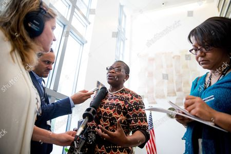 Obiageli Ezekwesili Bring Back Our Girls co-founder Obiageli Ezekwesili speaks to members of the media after meeting with U.S. Ambassador to the United Nations Samantha Power at the U.S. Embassy in Nigeria along with other leaders of civil society in Abuja, Nigeria, . Power is traveling to Cameroon, Chad, and Nigeria to highlight the growing threat Boko Haram poses to the Lake Chad Basin region