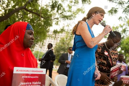 Samantha Power, Aisha Yesufu, Obiageli Ezekwesili U.S. Ambassador to the United Nations Samantha Power, second from right, stands next to Bring Back Our Girls co-founder Obiageli Ezekwesili, right, and Aisha Yesufu, left, as she speaks at a Bring Back Our Girls vigil in Abuja, Nigeria, which, two years after Boko Haram abducted the girls from their school, is still held daily. A total of 219 girls remain missing, and Power said she couldn't imagine the frustration of the families. Power is traveling to Cameroon, Chad, and Nigeria to highlight the growing threat Boko Haram poses to the Lake Chad Basin region
