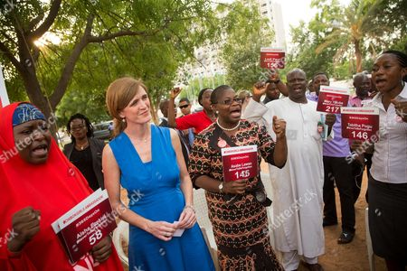 Samantha Power, Aisha Yesufu, Obiageli Ezekwesili U.S. Ambassador to the United Nations Samantha Power, second from right, stands next to Bring Back Our Girls co-founder Obiageli Ezekwesili, center and Aisha Yesufu, left, as she attends a Bring Back Our Girls vigil in Abuja, Nigeria, which, two years after Boko Haram abducted the girls from their school, is still held daily. A total of 219 girls remain missing, and Power said she couldn't imagine the frustration of the families. Power is traveling to Cameroon, Chad, and Nigeria to highlight the growing threat Boko Haram poses to the Lake Chad Basin region