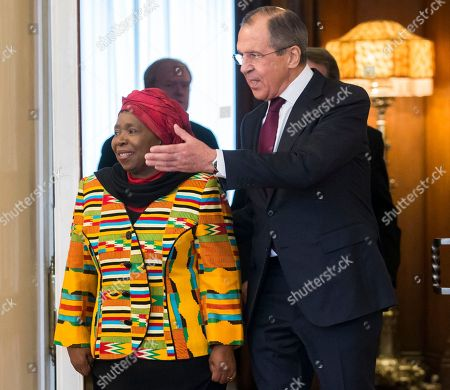 Sergey Lavrov, Nkosazana Clarice Dlamini-Zuma Russian Foreign Minister Sergey Lavrov, right, welcomes Chairperson of the African Union commission, Nkosazana Clarice Dlamini-Zuma in Moscow on