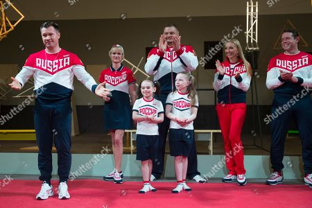 Alexei Nemov, Svetlana Khorkina, Vladimir Alekhno, Tatiana Navka, Pavel Bure Russia's former Olympic team members, athletes and children present the Russian Olympic team's uniform for Rio de Janeiro 2016 Olympics in the Tretyakov picture gallery in Moscow, Russia, . From left: former gymnast Olympic champion Alexei Nemov, former Olympic gymnastics champion Svetlana Khorkina, Russian national volley-ball team coach Vladimir Alekhno, former figure skater Olympic champion Tatiana Navka, former ice hockey star Pavel Bure