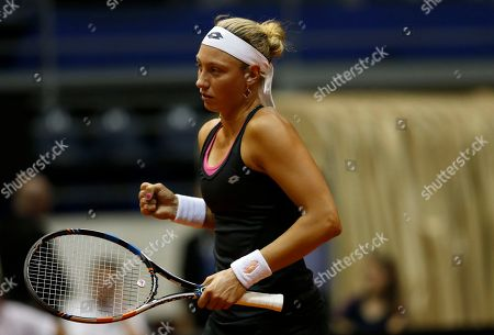 Yanina Wickmayer of Belgium celebrates during their Fed Cup World Group II play-off tennis match against Jovana Jaksic of Serbia, in Belgrade, Serbia