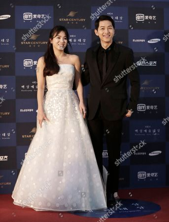 Song Hye-kyo, Song Joong-ki South Korean actress Song Hye-kyo, left, and actor Song Joong-ki pose as they arrive for the Baeksang Arts Awards in Seoul, South Korea, . The Baeksang Arts Awards is a major film and arts awards ceremony in the country