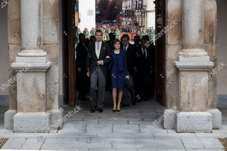 Queen Letizia, King Felipe Spain's King Felipe, left, and his wife Spain's Queen Letizia arrive to the University of Alcala de Henares, outskirts Madrid, Spain, . In a ceremony, Mexican writer Fernando del Paso was awarded the Cervantes Prize, which is is the Spanish-speaking world's highest literary honor