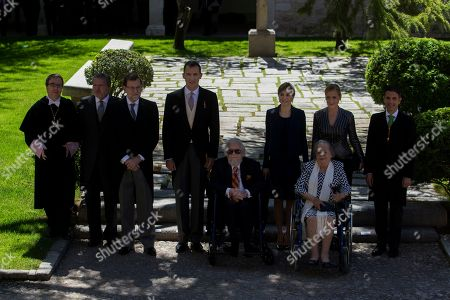 Fernando del Paso, Socorro Gordillo, Queen Letizia, King Felipe, Mariano Rajoy, Inigo Mendez de Vigo Mexican writer Fernando del Paso, sitting centre, poses for the media with his wife Socorro Gordillo, seated right, with Spain's King Felipe, fourth left, and his wife Spain's Queen Letizia, fourth right, Spain's acting Prime Minister Mariano Rajoy, third left, Spain's acting Culture Minister Inigo Mendez de Vigo, second left, and other local authorities after Del Paso was awarded the Cervantes Prize during a ceremony at the University of Alcala de Henares, outskirts Madrid, Spain, . The Cervantes prize is the Spanish-speaking world's highest literary honor