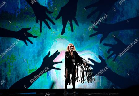 Iceland's Greta Salome performs 'Hear Them Calling' during the first Eurovision Song Contest semifinal in Stockholm, Sweden