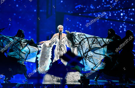Croatia's Nina Kraljic performs 'Lighthouse' during the first Eurovision Song Contest semifinal in Stockholm, Sweden