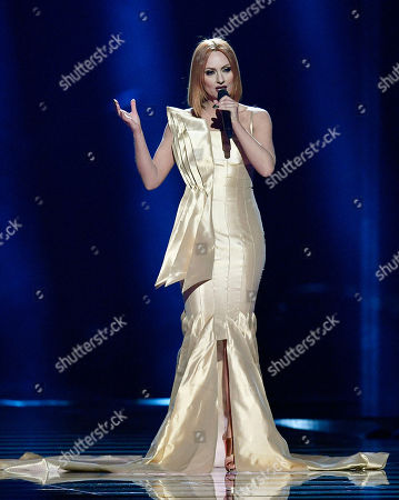 Albania's Eneda Tarifa performs the song 'Fairytale' during a dress rehearsal for the second semifinal at the Eurovision Song Contest in Stockholm, Sweden