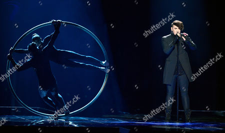 Hovi Star of Israel performs the song ''Made of stars' during a dress rehearsal for the second semifinal at the Eurovision Song Contest in Stockholm, Sweden