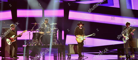 Georgia's band Nika Kocharov and young Geogian Lolitaz performs the song 'Midnight Gold' during a dress rehearsal for the second semifinal at the Eurovision Song Contest in Stockholm, Sweden