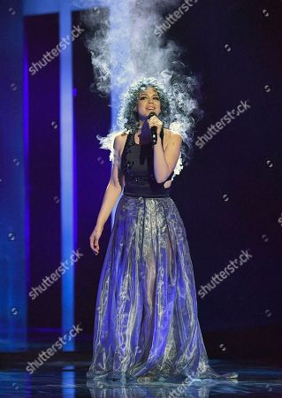 Rykka of Switzerland performs the song 'The last of our kindt' during a dress rehearsal for the second semifinal at the Eurovision Song Contest in Stockholm, Sweden