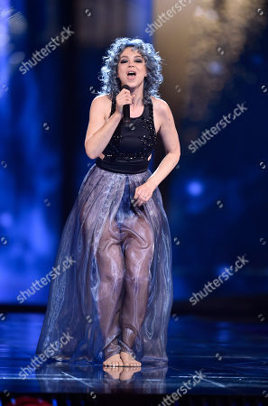 Switzerland's Rykka performs the song 'The Last Of Our Kind' during the second Eurovision Song Contest semifinal in Stockholm, Sweden