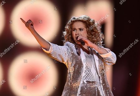 Belgium's Laura Tesoro performs the song 'What's The Pressure' during the second Eurovision Song Contest semifinal in Stockholm, Sweden