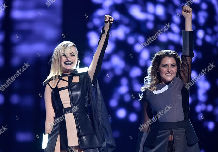 Bulgaria's Poli Genova, left, performs the song 'If Love Was A Crime' during the second Eurovision Song Contest semifinal in Stockholm, Sweden