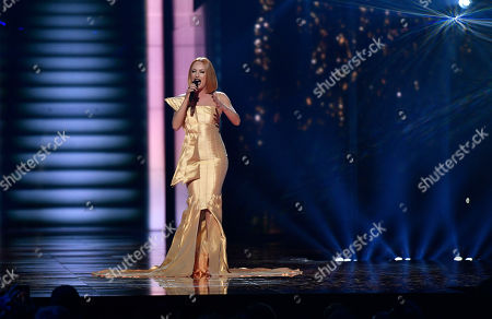 Stock Photo of Albania's Eneda Tarifa performs the song 'Fairytale' during the second Eurovision Song Contest semifinal in Stockholm, Sweden