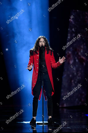 Poland's Michal Szpak performs the song 'Color Of Your Life' during the second Eurovision Song Contest semifinal in Stockholm, Sweden