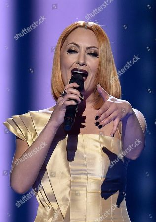 Albania's Eneda Tarifa performs the song 'Fairytale' during the second Eurovision Song Contest semifinal in Stockholm, Sweden