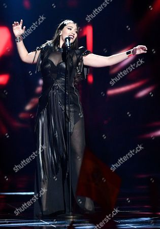 Serbia's Sanja Vucic ZAA performs the song 'Goodbye (Shelter)' during the second Eurovision Song Contest semifinal in Stockholm, Sweden