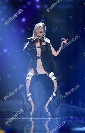 Bulgaria's Poli Genova performs the song 'If Love Was A Crime' during the second Eurovision Song Contest semifinal in Stockholm, Sweden
