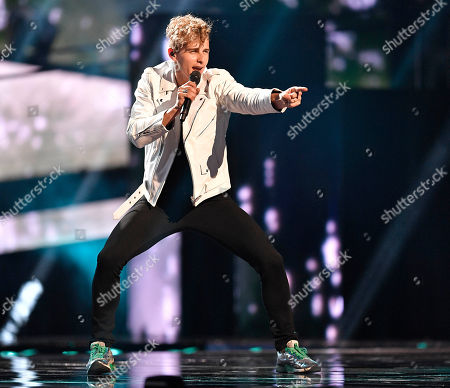 Donny Montell of Lithuania performs during the first dress rehearsal for the Eurovision Song Contest final in Stockholm, Sweden