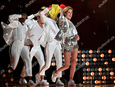 Belgium's Laura Tesoro performs during the first dress rehearsal for the Eurovision Song Contest final in Stockholm, Sweden