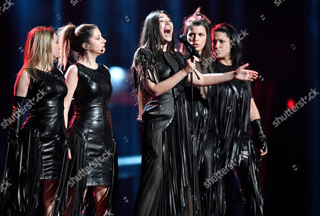 ZAA Sanja Vucic of Serbia performs during the first dress rehearsal for the Eurovision Song Contest final in Stockholm, Sweden