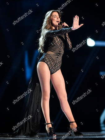 Iveta Mukuchyan of Armenia performs during the first dress rehearsal for the Eurovision Song Contest final in Stockholm, Sweden