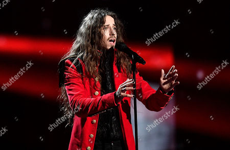 Michal Szpak of Poland performs during the first dress rehearsal for the Eurovision Song Contest final in Stockholm, Sweden