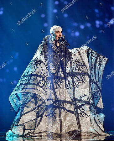 Nina Kraljic of Croatia performs during the first dress rehearsal for the Eurovision Song Contest final in Stockholm, Sweden