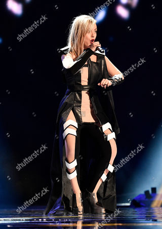 Poli Genova of Bulgaria performs during the first dress rehearsal for the Eurovision Song Contest final in Stockholm, Sweden