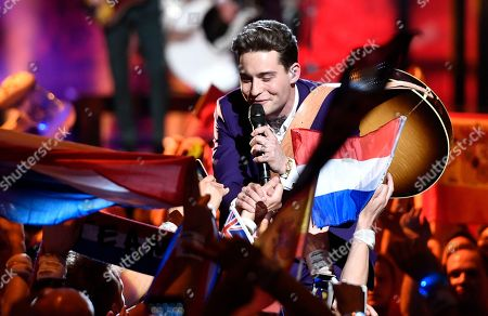 Stock Image of The Netherlands's Douwe Bob performs the song 'Slow Down' during the Eurovision Song Contest final in Stockholm, Sweden