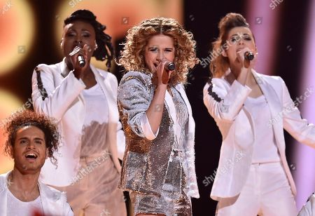 Belgium's Laura Tesoro performs the song 'What's The Pressure' during the Eurovision Song Contest final in Stockholm, Sweden