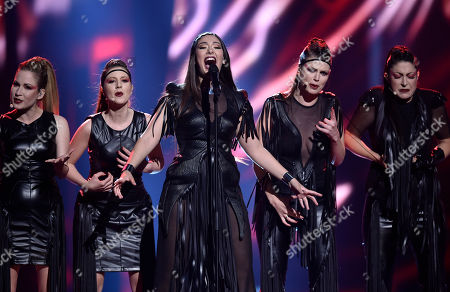Serbia's Sanja Vucic ZAA performs the song 'Goodbye (Shelter)' during the Eurovision Song Contest final in Stockholm, Sweden