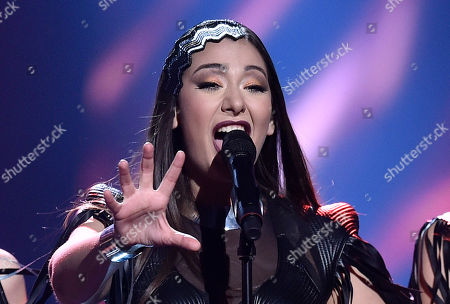 Stock Picture of Serbia's Sanja Vucic ZAA performs the song 'Goodbye (Shelter)' during the Eurovision Song Contest final in Stockholm, Sweden