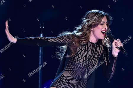 Stock Image of Armenia's Iveta Mukuchyan performs the song 'LoveWave' during the Eurovision Song Contest final in Stockholm, Sweden