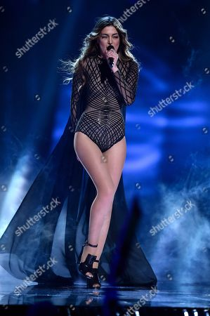 Armenia's Iveta Mukuchyan performs the song 'LoveWave' during the Eurovision Song Contest final in Stockholm, Sweden
