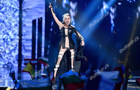 Bulgaria's Poli Genova performs the song 'If Love Was A Crime' during the Eurovision Song Contest final in Stockholm, Sweden