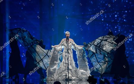 Croatia's Nina Kraljic performs the song 'Lighthouse' during the Eurovision Song Contest final in Stockholm, Sweden