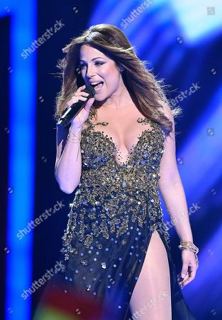 Malta's Ira Losco performs the song 'Walk On Water' during the Eurovision Song Contest final in Stockholm, Sweden