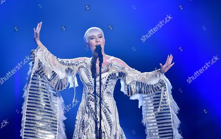 Stock Photo of Croatia's Nina Kraljic performs the song 'Lighthouse' during the Eurovision Song Contest final in Stockholm, Sweden