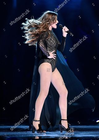 Stock Picture of Armenia's Iveta Mukuchyan performs the song 'LoveWave' during the Eurovision Song Contest final in Stockholm, Sweden