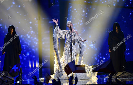 Stock Image of Croatia's Nina Kraljic performs the song 'Lighthouse' during the Eurovision Song Contest final in Stockholm, Sweden